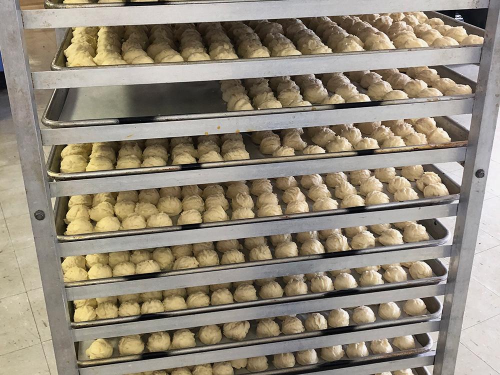 Pierogi balls ready for dough