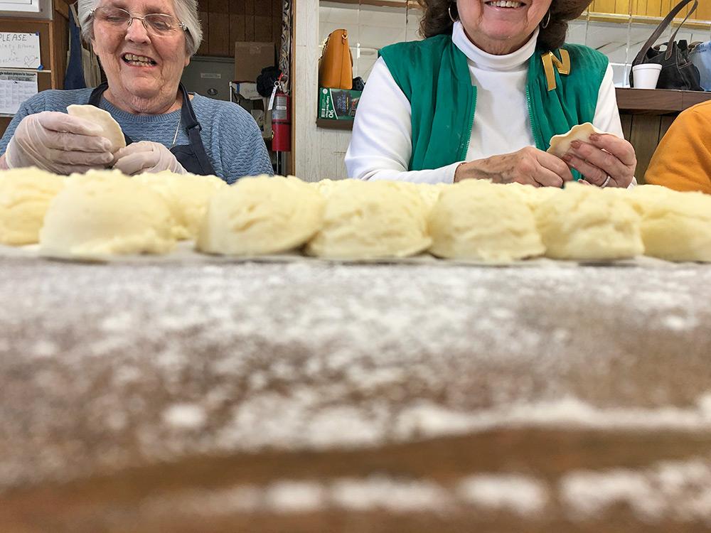 Pierogi pincher making the perfect crimps on each dumpling