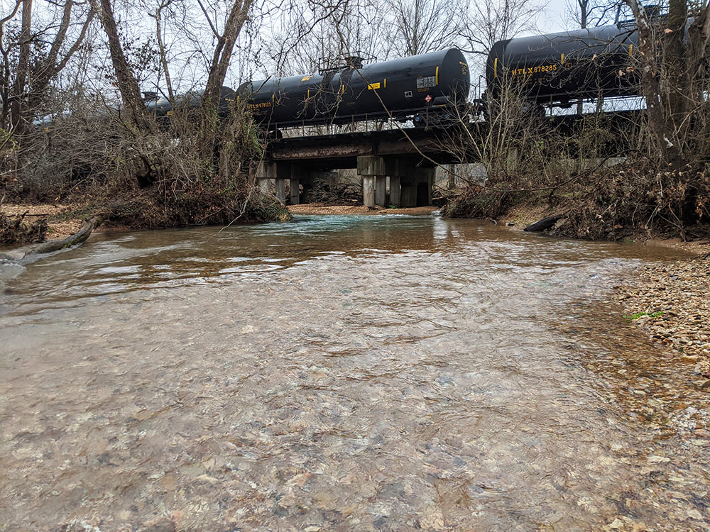 Train on the tracks over Crane Creek, Missouri. Photo: Casey Callison.
