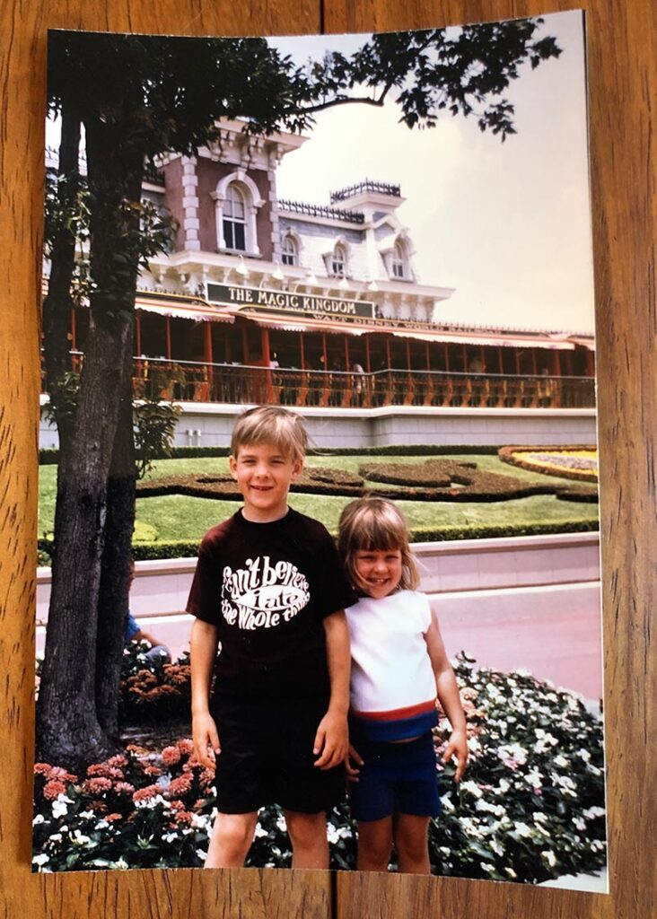 Ted Allen and sister at Disney's Magic Kingdom, 1972
